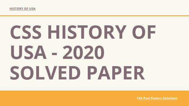 History of USA solved 2020 paper